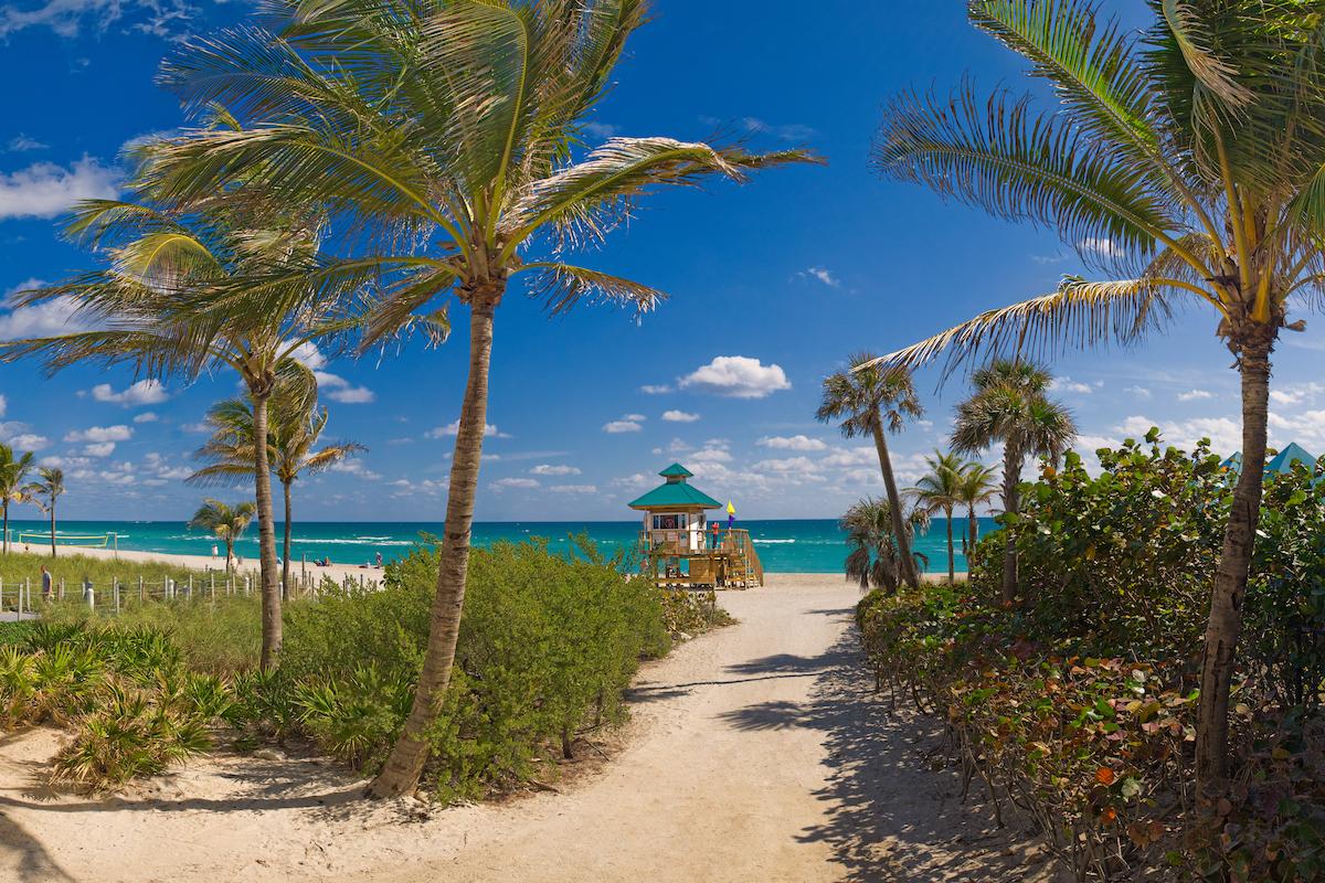 Sunny Isles Beach beach access path to the beach.