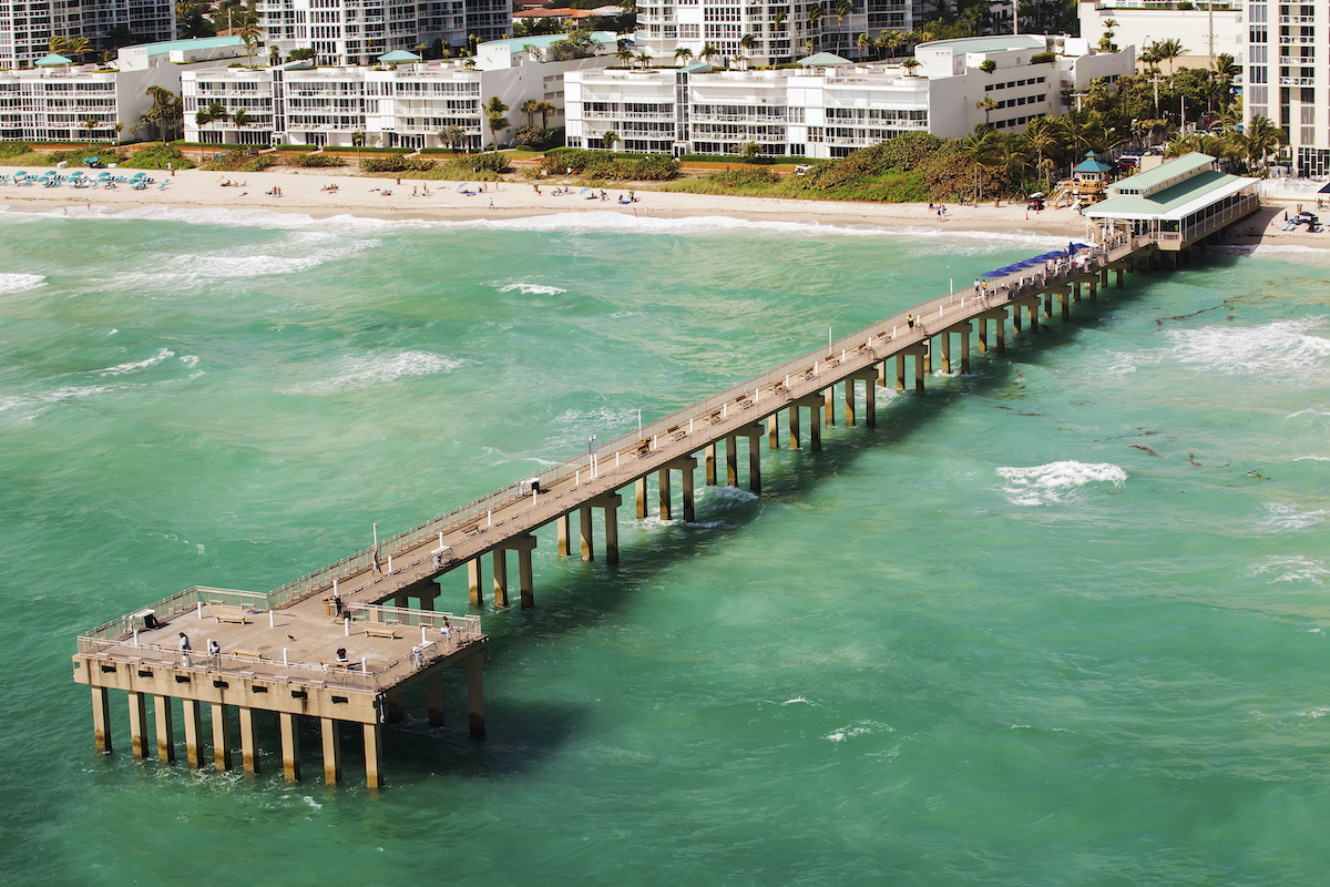 Aerial view of the Newport Fishing Pier