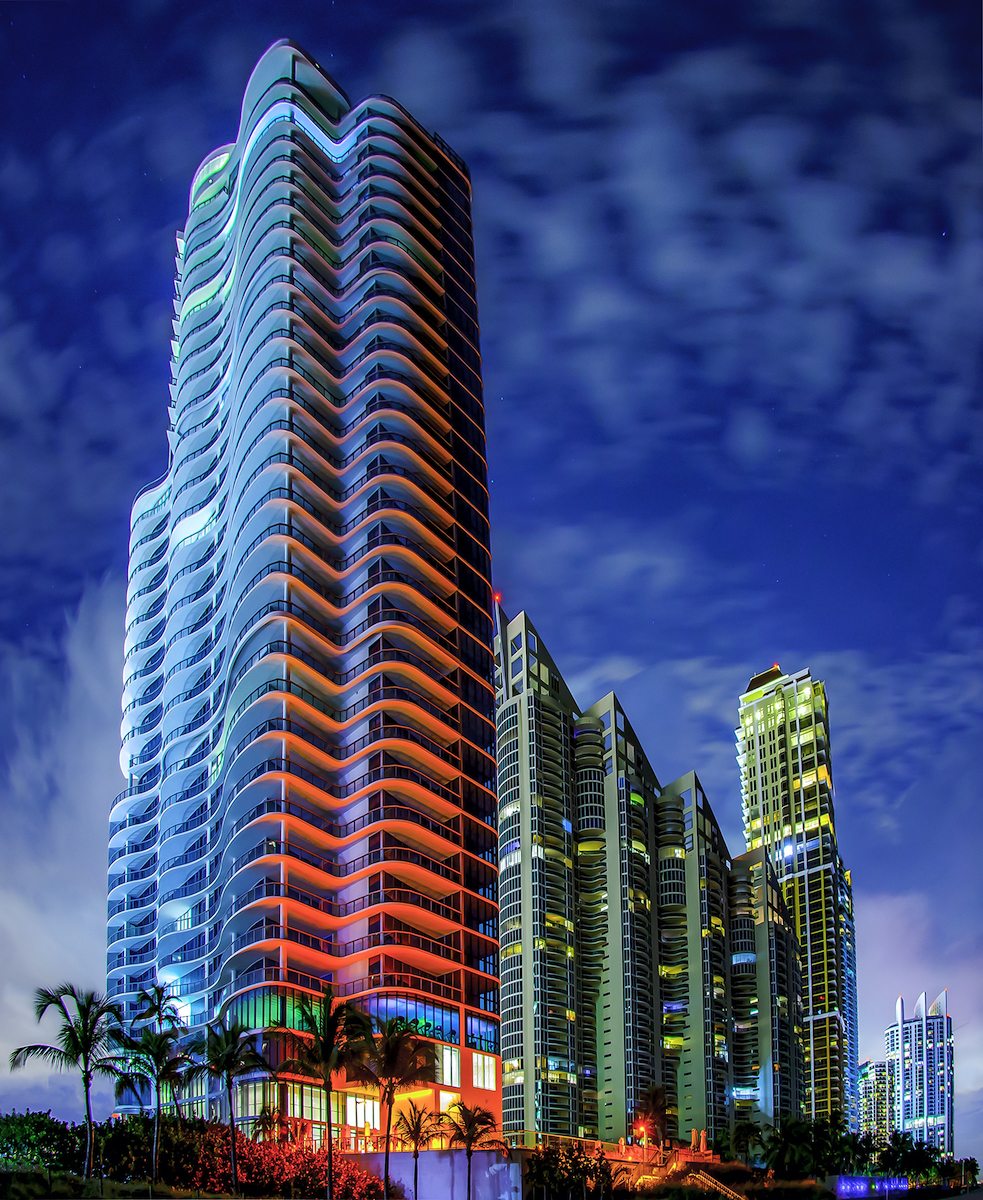 Colors reflecting in the evening off Sunny Isles Beach high rise.