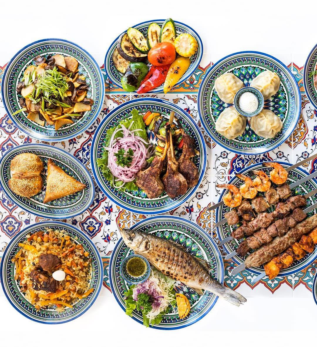 Spread of different dishes from Chayhana Oasis