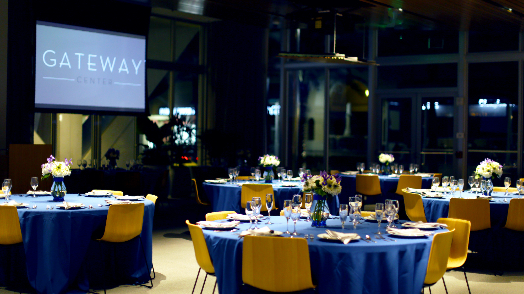 Gateway Center ballroom decorated at nighttime