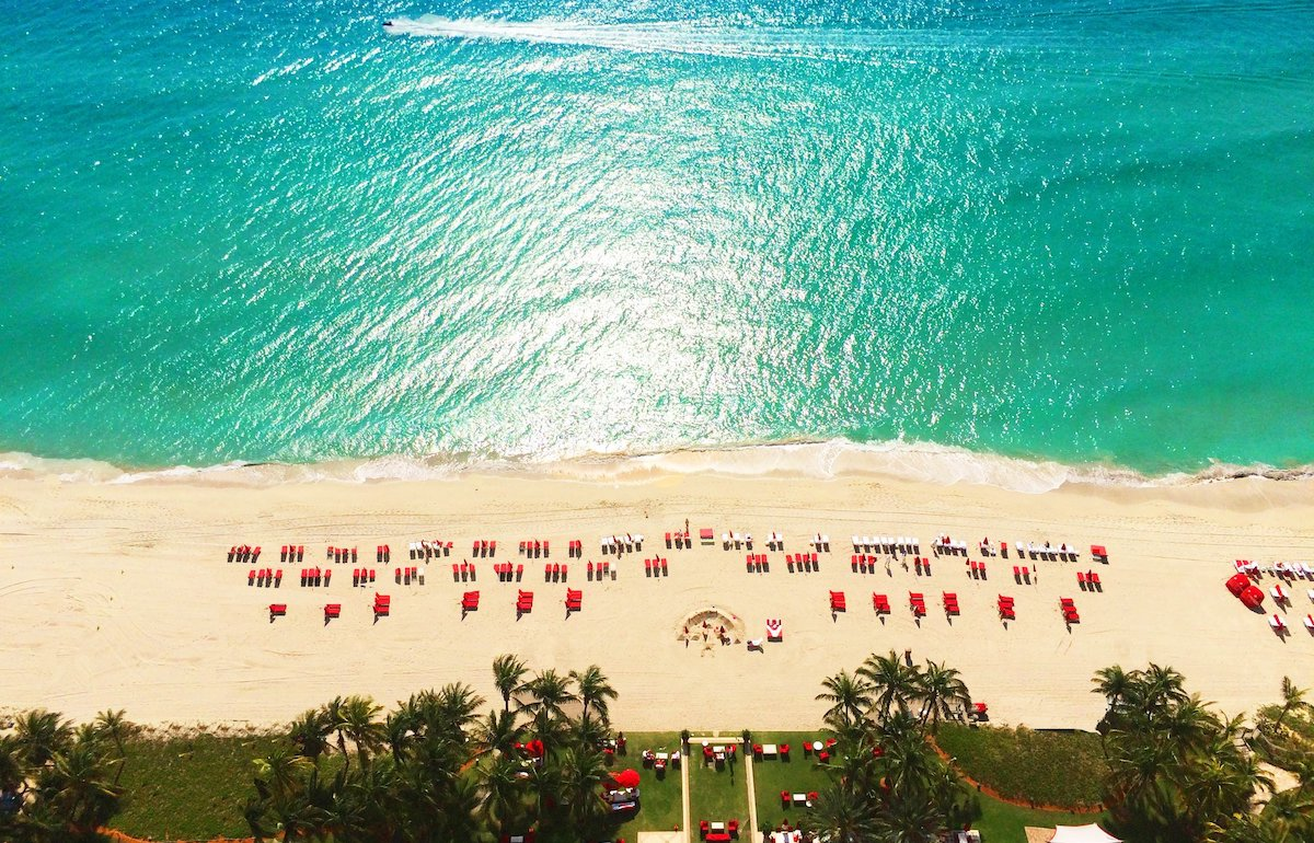 Aerial view of beach from Acqualina resort & Residences